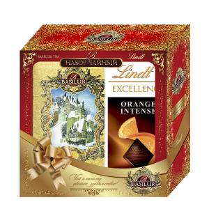 Чайный набор BASILUR и шоколадная плитка Lindt 100 гр. в подарок
